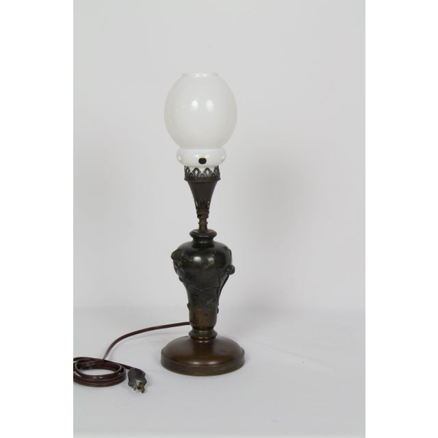 Metal Mid 19th Century Vintage Meiji Japanese Bronze Gas Lamp For Sale - Image 7 of 12