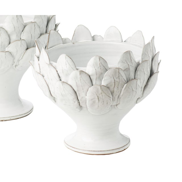 White Artichoke Footed Centerpiece, Small For Sale - Image 4 of 4