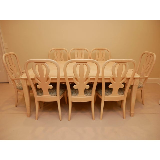 Bernhardt dining table and 8 splat back chairs. 2 arm chairs and 6 side chairs. Table has 2 leaves. Table is 29 inches...