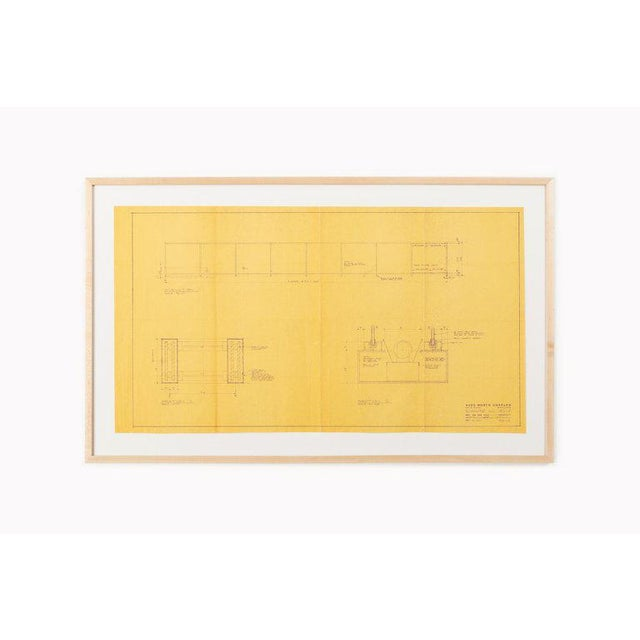 Wood Mies Van Der Rohe Blueprint, Crown Hall, Chicago, 1954, North Platform For Sale - Image 7 of 13