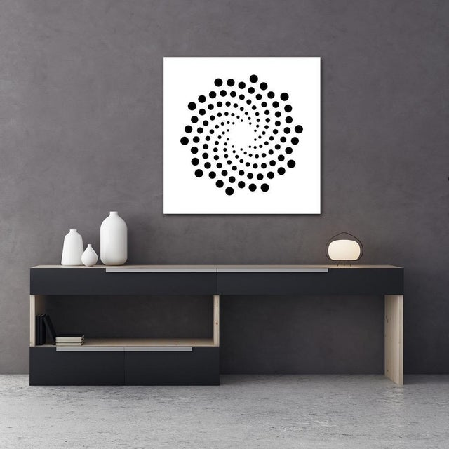 Artist: Chuck Krause (1949) Title: Spirals (Black & White) Year: 2020 Medium: Sculpted composite board mounted to colored...