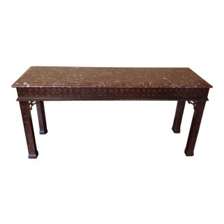Henredon Chinese Chippendale Carved Mahogany Marble Top Sofa Table For Sale