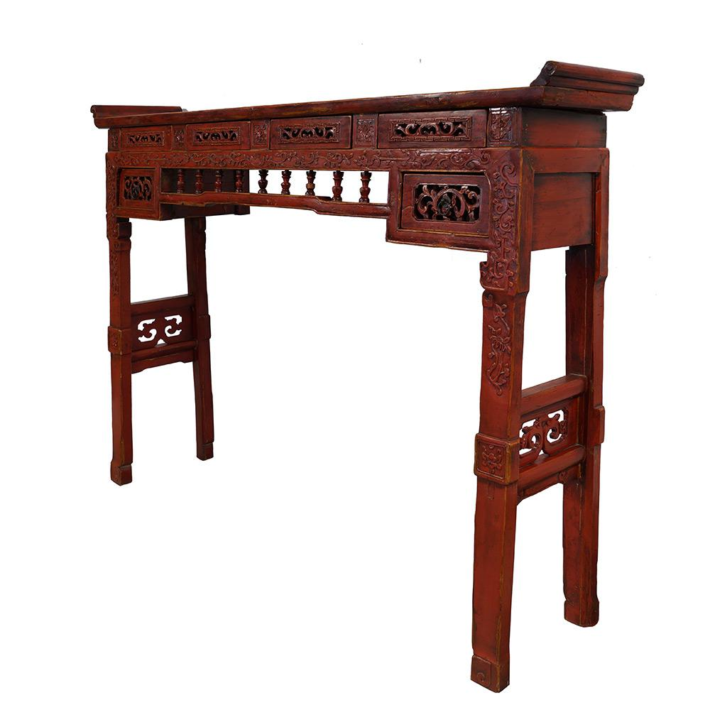 Chinese Antique Carved Red Lacquered Altar Table Console Rh Chairish Com Hand Tables From Europe German Coffee