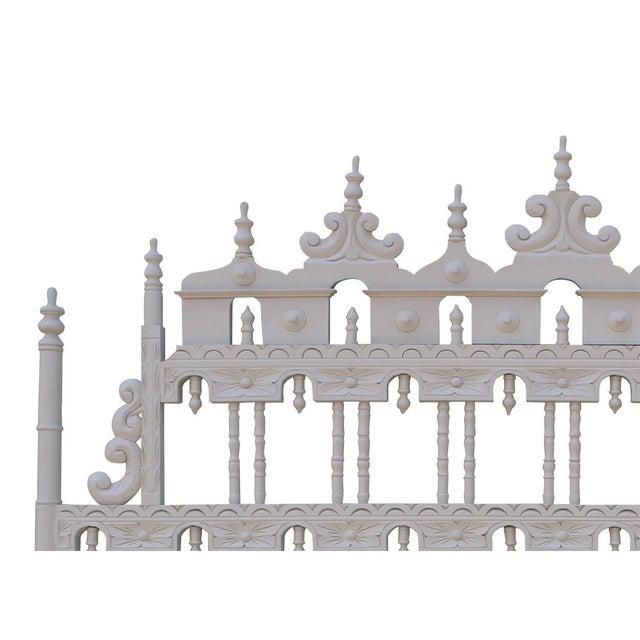 Vintage Carved Ornate Spindle King Size Headboard - Image 2 of 4
