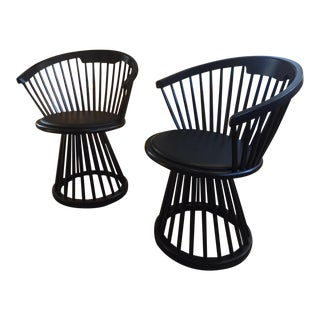 Tom Dixon Fan Black Birch & Leather Dining Chairs - a Pair For Sale