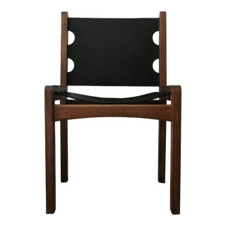 Vintage Black Leather and Walnut Sling Chair For Sale