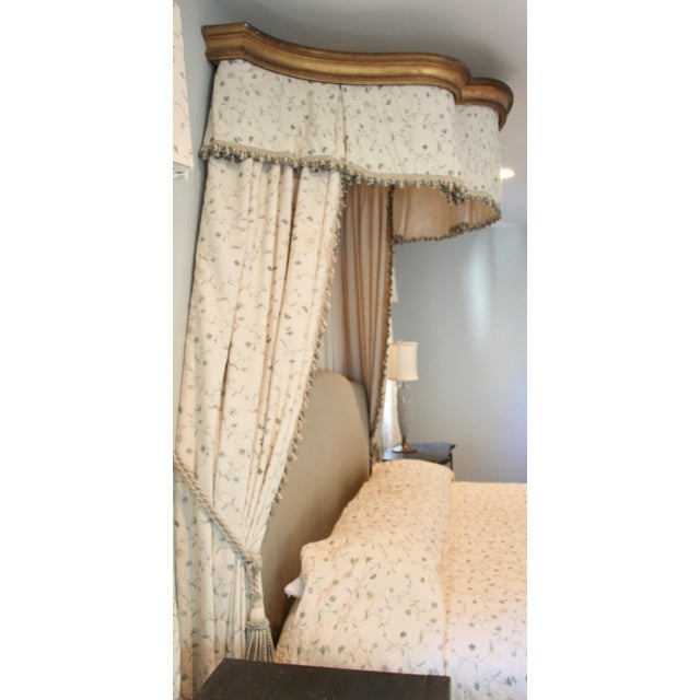 Italian Italian Giltwood Bed Corona W/ Draperies For Sale - Image 3 of 12