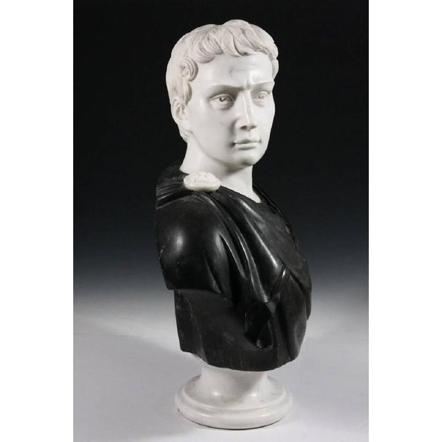 Late 19th Century Black and White Italian Marble Bust of Roman Statesman For Sale - Image 4 of 7