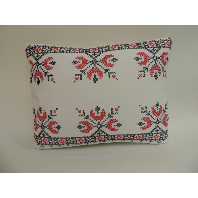 Late 19th Century 19th Century Cross-Stitch Red and Black German Embroidery Decorative Pillow For Sale - Image 5 of 5