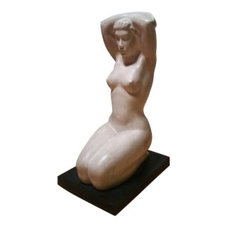 Mid-Century Plaster Kneeling Nude Sculpture For Sale