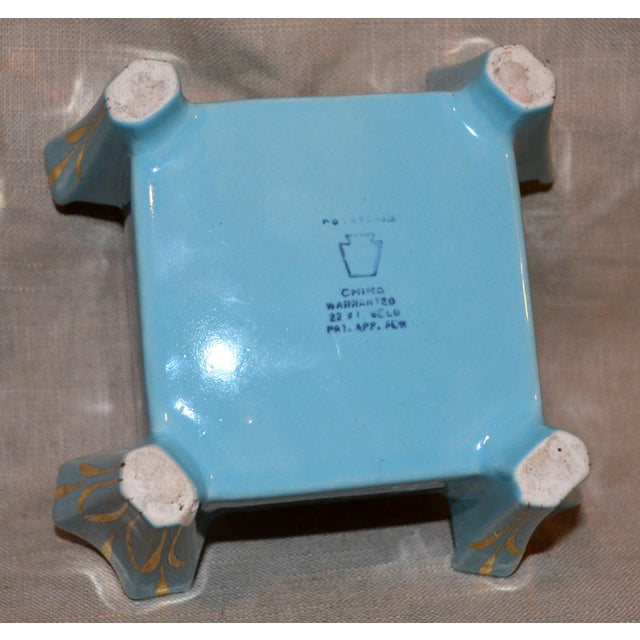 Turquoise Canonsburg China Art Deco Cigarette Box For Sale - Image 8 of 12