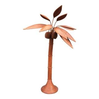 1970s Mid-Century Modern Rattan Palm Tree Figurine For Sale
