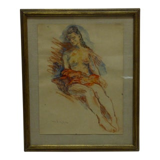 """1940s Mint Original Painting on Paper, Sitting Nude"""" by Moses Soyer For Sale"""