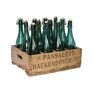 Vintage Belgian Beer Crate & Bottles, 13 Pcs