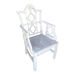 Vintage Fretwork Chinese Chippendale Wood Chair For Sale