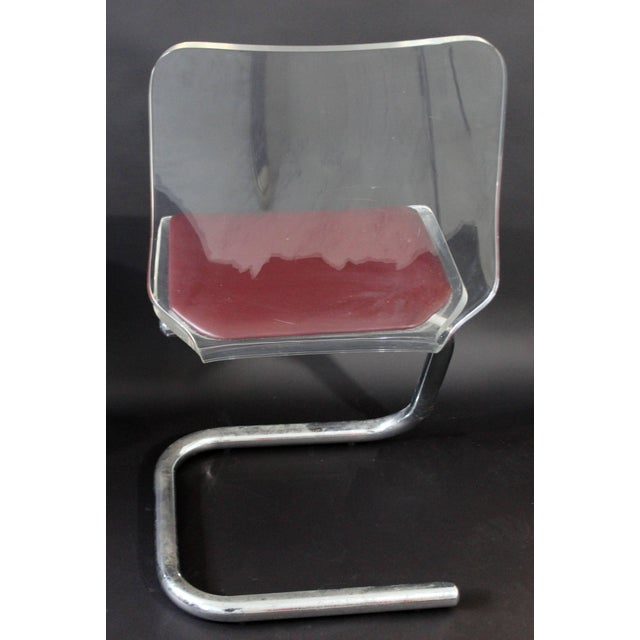 Chrome Mid-Century Modern Set of Four Lucite Dining Chairs by Luigi Bardini for Hill For Sale - Image 7 of 10