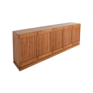 Brutalist Natural Oak Credenza With Geometric Door Panels For Sale