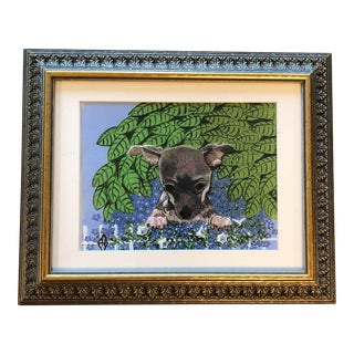 Chihuahua Dog Print With Forget Me Nots Judy Henn For Sale