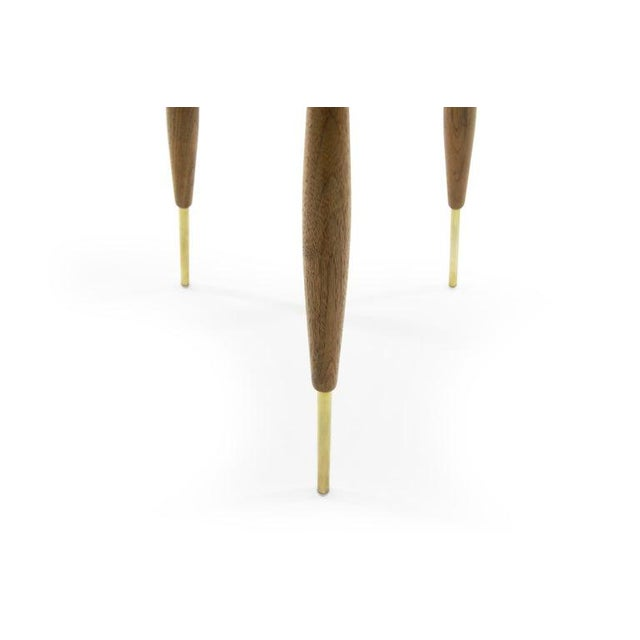 Metal Brass and Walnut Tripod Floor Lamps by Gerald Thurston, 1960s - a Pair For Sale - Image 7 of 11