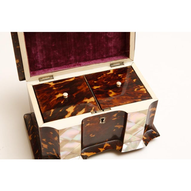 19th Century Tortoise Shell Tea Caddy with Mother of Pearl Inlay For Sale - Image 4 of 6