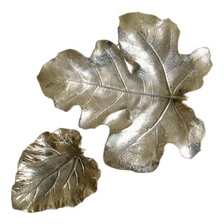 Mid 20th Century Virginia Metalcrafters Brass Large Fig Leaf and Rhubarb Leaf - Set of 2 For Sale