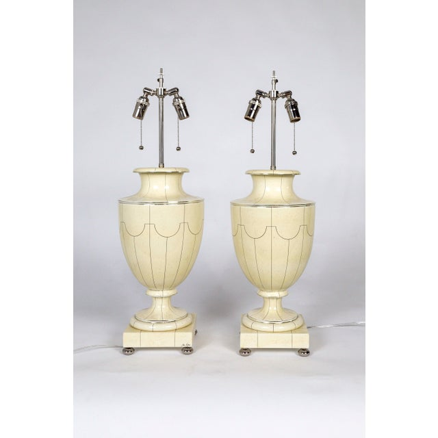 Vintage Silver Trimmed Ivory Ceramic Urn Lamps by Jean Roger - a Pair For Sale - Image 10 of 10
