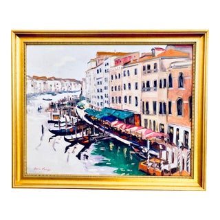 Vintage Mid-Century Joel Knapp Venetian Canal Signed & Framed Oil Painting For Sale