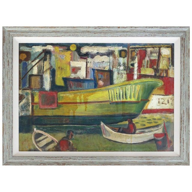 1960 Wpa Style Fishing Boatyard Oil Painting For Sale - Image 10 of 10