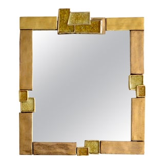 Francois Lembo French Gilded and Crystalline Ceramic Mirror For Sale