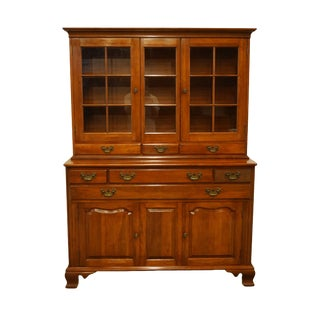 Willett Furniture Solid Wildwood Cherry Colonial Style China Cabinet For Sale