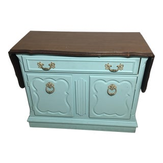 Vintage Turqouise Buffet Cabinet Drawer Table