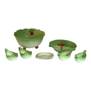 Vintage Hand Painted Beswick England Tomato Leaf Serving Dish Set - 10 Piece Set For Sale