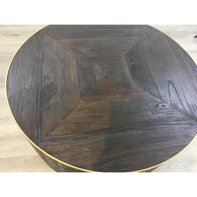 2010s Industrial Modern Round Wood Cocktail Table For Sale - Image 5 of 6