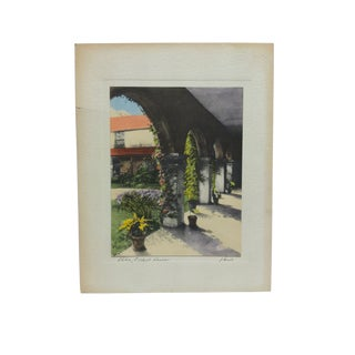 """Early 20th Century Antique """"Patio - Oldest House"""" Harris Mounted Hand-Colored Photograph For Sale"""