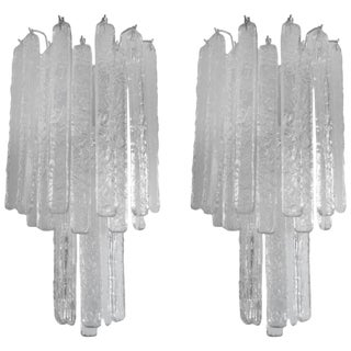 1970s Mid Century Modern Italian Venini Style Murano Glass Icicle Sconces - a Pair For Sale
