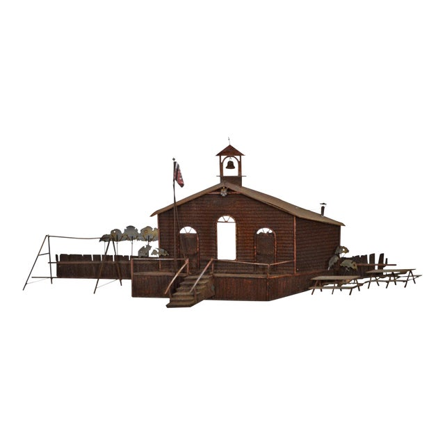 Curtis Jere Large Rusted Metal Wall Sculpture of Meeting House For Sale