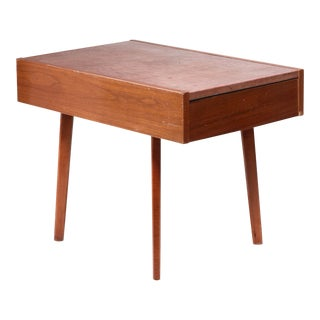 Nelson Leather Top End Table with Drawer For Sale
