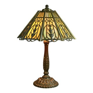 Antique Arts & Crafts Signed Wilkinson Bronze Overlay Slag Glass Table Lamp 1910 For Sale