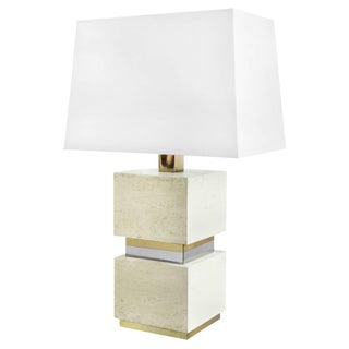 1970s French Travertine Block Table Lamp With Brass and Chrome Banding For Sale