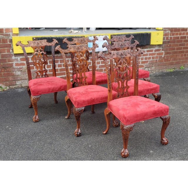 1980s Vintage Heavily Carved Mahogany Chippendale Style Dining Room Side Chairs- Set of 6 For Sale - Image 13 of 13