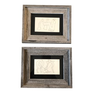 Gallery Wall Collection 2 Miniature Vintage Robert Cooke Abstract Ink Drawings 1960's - a Pair For Sale
