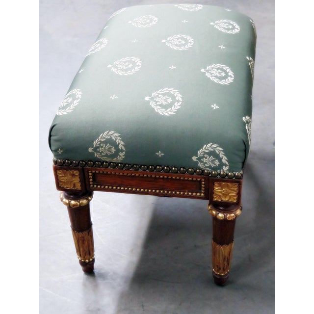 Fabric Jansen Regency Style Chair & Ottoman - A Pair For Sale - Image 7 of 10