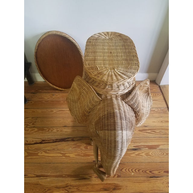 Boho Chic 1974 Boho Chic Thailand Natural Wicker Elephant Table For Sale - Image 3 of 9