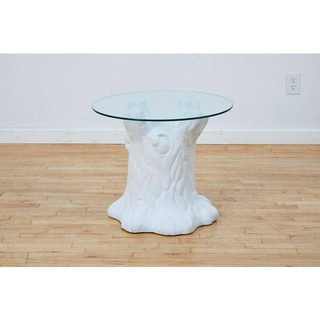 """Very sweet vintage plaster side table in the shape of a tree trunk with birds peeking out. Circular 24"""" glass top rests on..."""