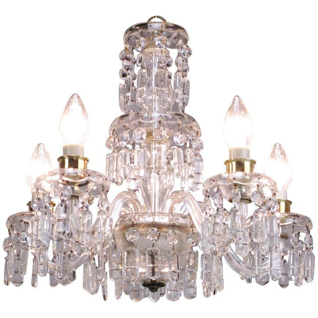 Lightolier Cut-Crystal Five-Arm Chandelier, Circa 1940s For Sale - Image 11 of 12