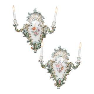 Pair of Meissen Porcelain Sconces For Sale