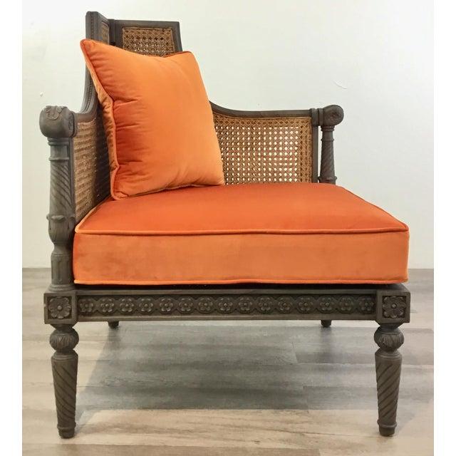 French Style Cane Back Orange Velvet Corner Chair For Sale In Atlanta - Image 6 of 7