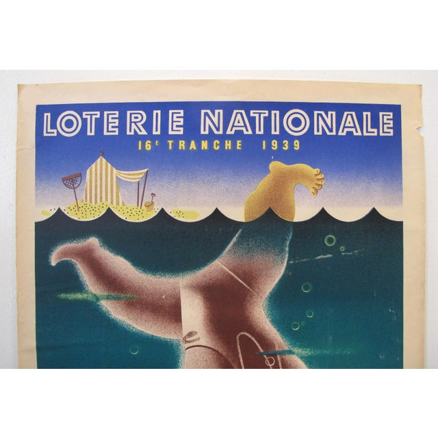 Art Deco 1939 French Art Deco Poster - Loterie Nationale Advertisement - 16e Tranche 1939 - Plages For Sale - Image 3 of 6