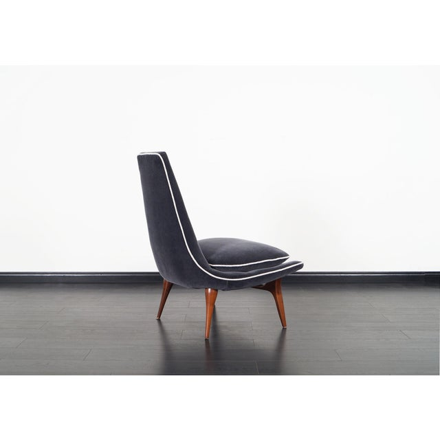 Wood Vintage High Back Lounge Chairs by Karpen For Sale - Image 7 of 9