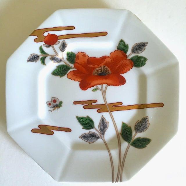 Ceramic Fitz & Floyd Japan Vintage Contemporary Modernist Floral Porcelain Dessert Plates - Set of 3 For Sale - Image 7 of 11